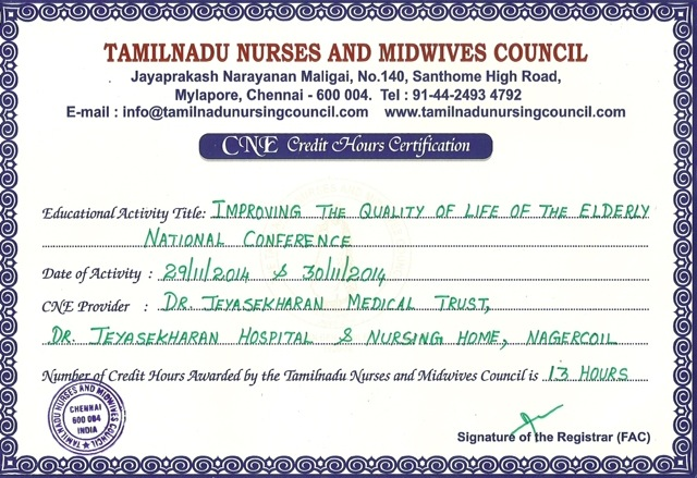 National Conference Credit Hrs Certificate